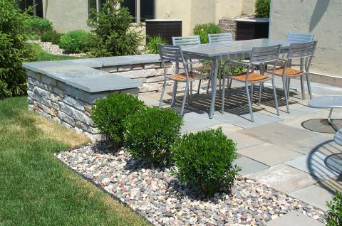 Contemporary Patio with clean line metal furniture