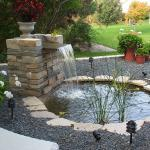 Traditional Landscape with veneer stone water fountain