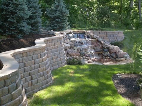 Transitional Landscape with concrete stone retaining wall