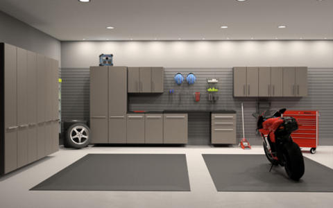 Contemporary Garage with gray garage cabinets
