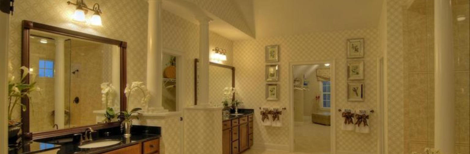 Traditional Bathroom with off white and tan wall treatment colors