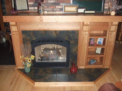 Traditional Family Room with custome wood mantle shelf and legs