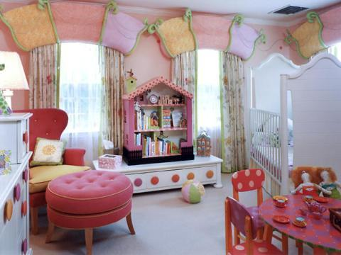 Contemporary Kids Room with colorful painted children s table