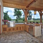Lodge Outdoor Kitchen with knotty alder wood cabinets