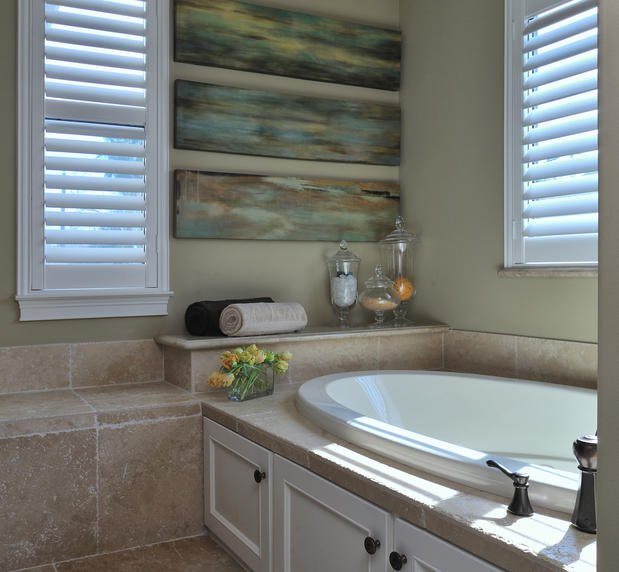 modern bathroom with shutters in Dallas, TX