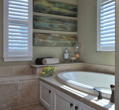modern bathroom with shutters in dallas tx