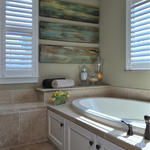 Modern Bathroom with plantation shutters