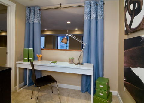 Modern Home Office with curtains for privacy