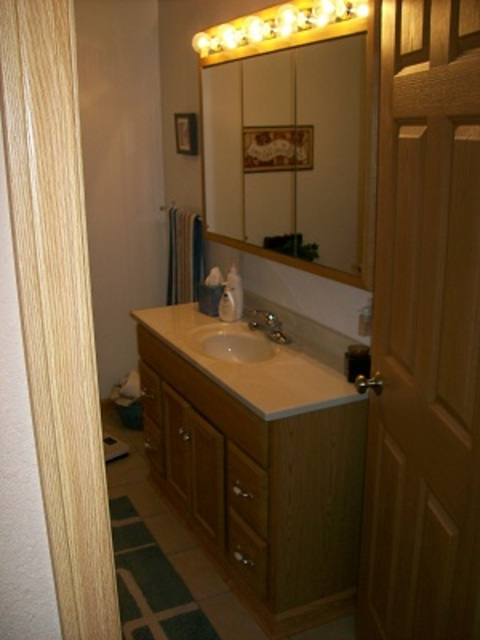 Casual / Comfortable Bathroom with light stained cabinetry