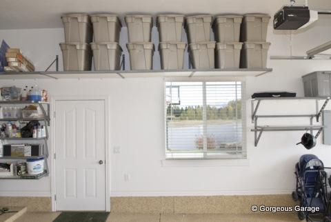 Traditional Garage with overhead rack shelving