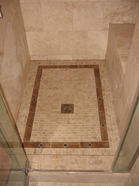 Traditional Bathroom with framed glass shower door
