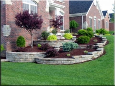 Traditional Landscape with stone retaining walls