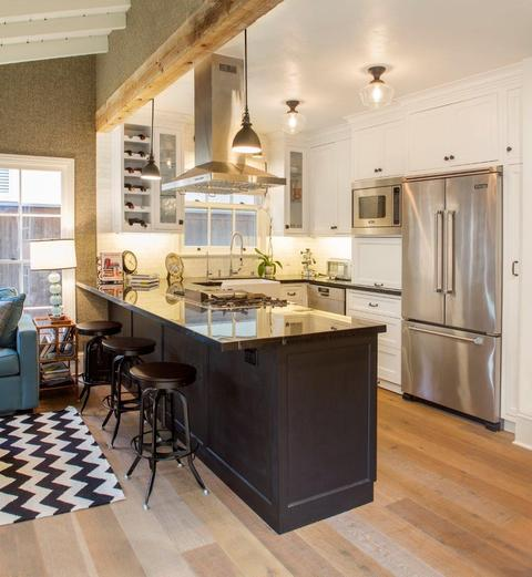 Eclectic Kitchen with ceiling mounted light fixtures
