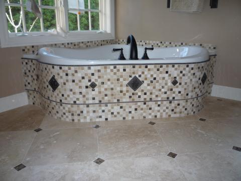 Eclectic Bathroom with mosiac tiled bathtub surround