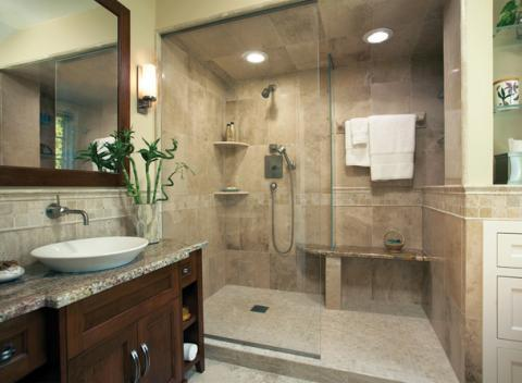 Contemporary Bathroom with small light tan tile shower flooring