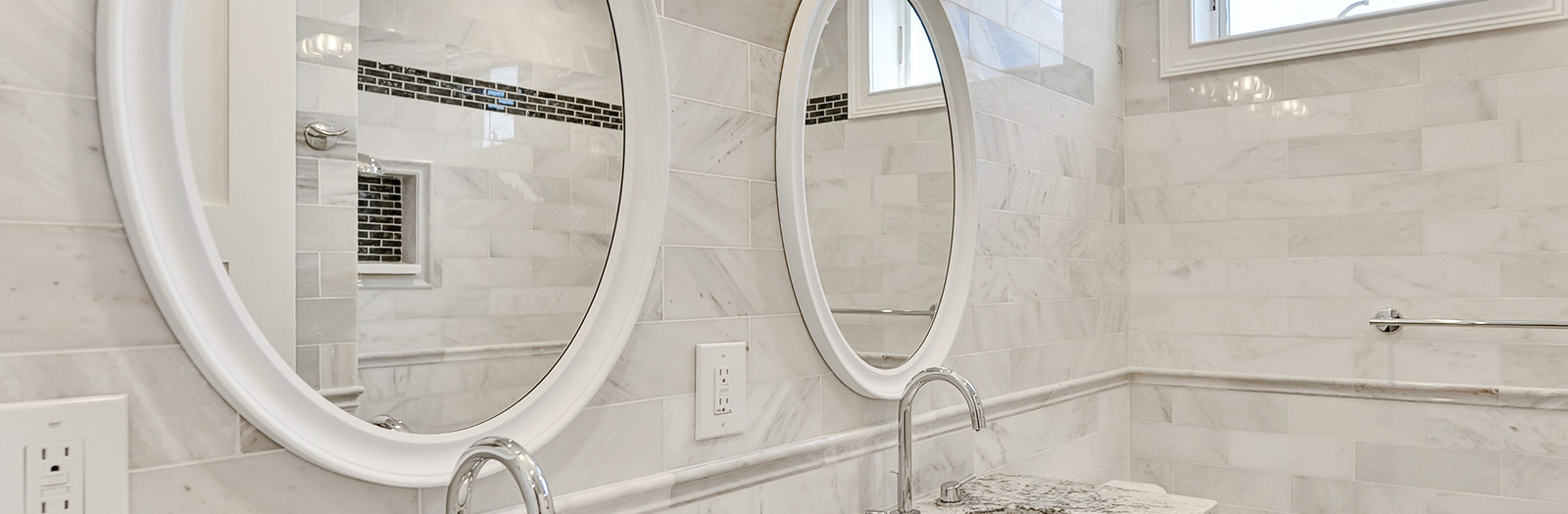 Transitional Bathroom with white framed vanity mirror