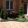 Transitional Garden with paved brick driveway