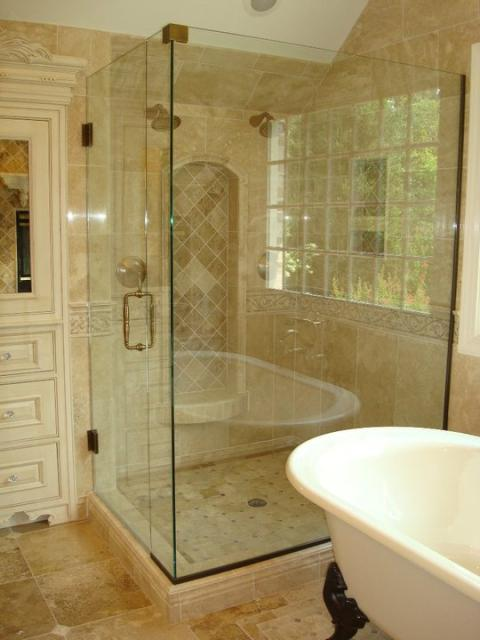 Traditional Bathroom with clear frame less shower door