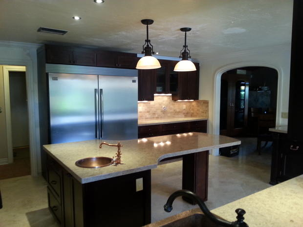 Transitional kitchen in hialeah copper faucet copper for Kitchen cabinets hialeah