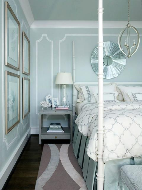 Eclectic Bedroom with white and blue bed linens