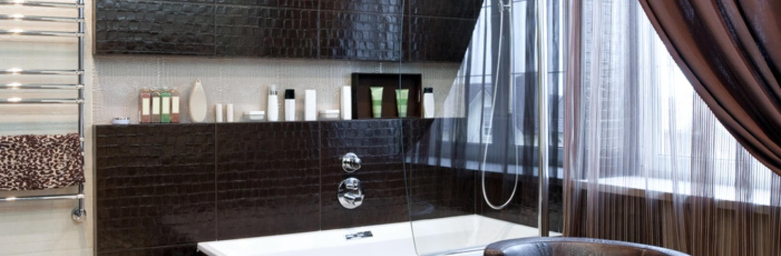 Contemporary Bathroom with glossy-wood finish around the tub