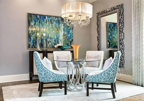 Add To Transitional Dining Room With Contemporary Light Blue Dining Chairs