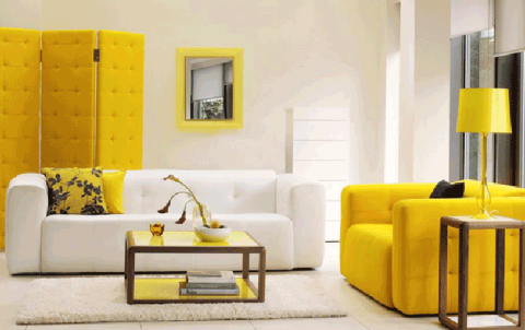 Modern Family Room with dark wood coffee table with yellow surface