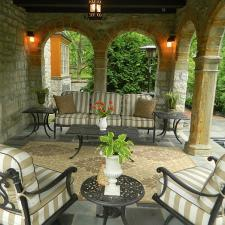 Traditional Patio with tan and white stripes