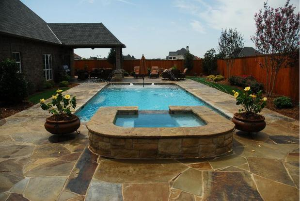 Traditional pool in oklahoma city covered patio wood for Pool design okc