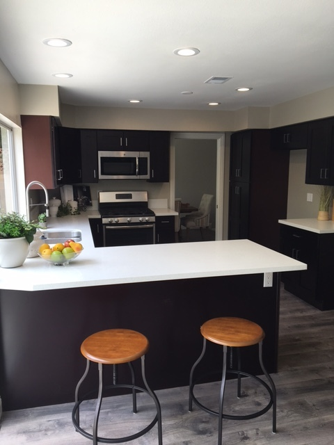 Contemporary Kitchen In Fountain Valley White Trim Wood Cabinets By Coastline Construction