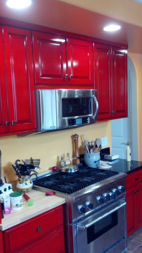 Eclectic Kitchen In Costa Mesa Stainless Steel Appliances High Gloss Cabinetry By Cottage
