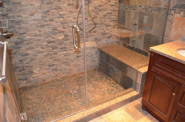 Traditional Bathroom in Bethpage - shower seating, under mount sink ...