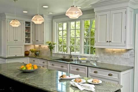 Transitional Kitchen with white marble tile back splash