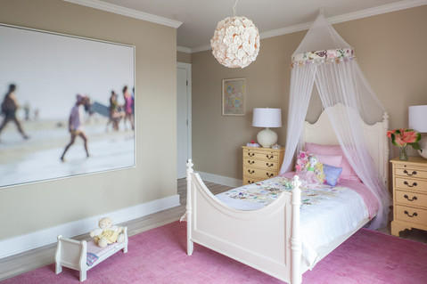 Transitional Kids Room with off white head board