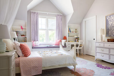 Transitional Kids Room with off white bed frame