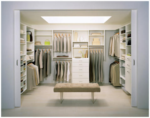 Contemporary Closet with white built in shelving
