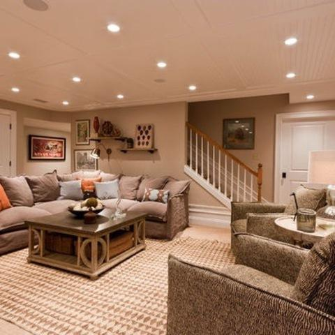 Contemporary Basement with recessed lights
