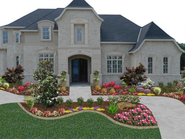 French Country Home Exterior in Rockwall - gorgeous bright flower landscape,  curved pathway | by Lasting Impressions Landscape - French Country Home Exterior In Rockwall - Gorgeous Bright Flower