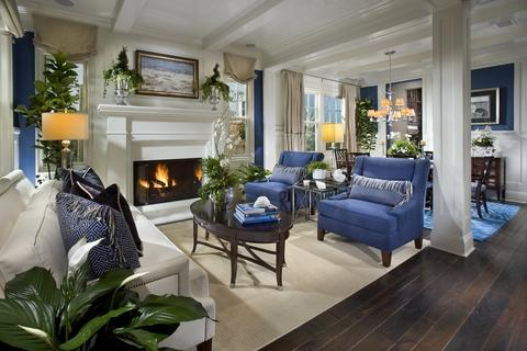 Contemporary Living Room with bright blue upholstered chairs