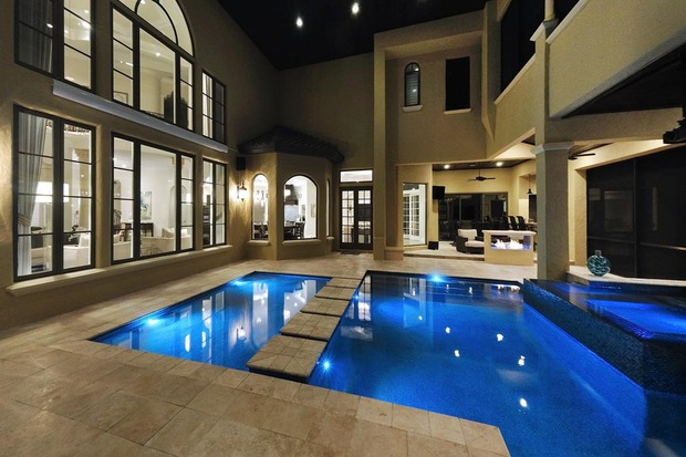 Contemporary pool in fort lauderdale hot tub stone for Pool design fort lauderdale