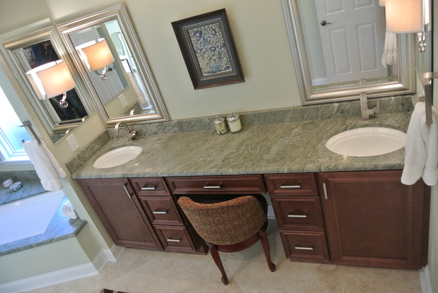 Traditional Bathroom In Jacksonville Seated Vanity Area Stained Wood Sink Vanity By