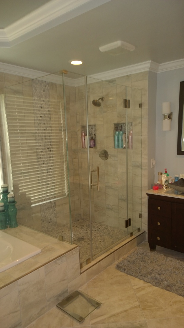 Transitional Bathroom In Silver Spring River Rock Shower Floor Dark Wood Furniture Style