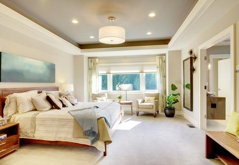 Modern Bedroom with sitting area in master bedroom