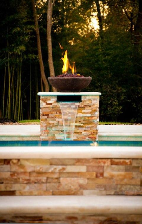 Southwestern Pool In Cypress Sheeting Waterfall Cement