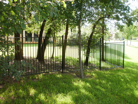 Modern Landscape with metal picket fence