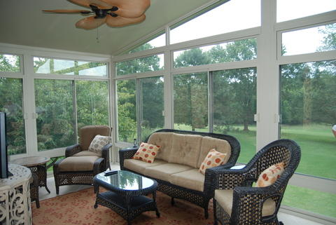 Transitional Sunroom with beautiful view from sunroom