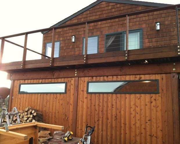 Rustic garage in evergreen by all american restoration llc for Evergreen garage doors and service