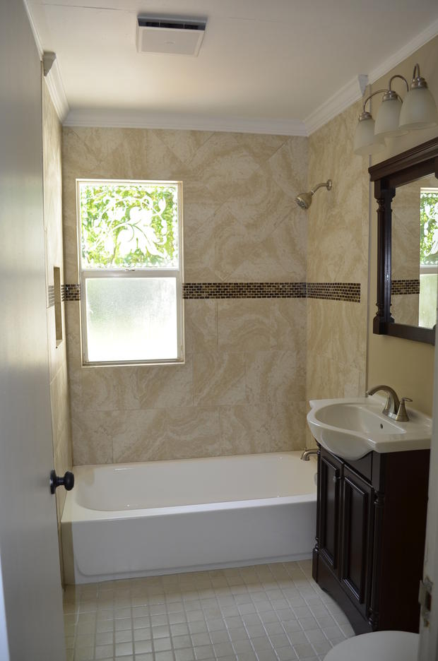 Traditional Bathroom In Fort Lauderdale Tile To Ceiling Dark Wood Sink Vanity By Investcove