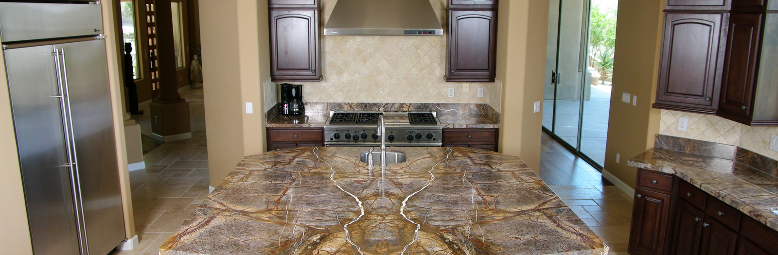 Tuscan Kitchen with stainless steel appliances