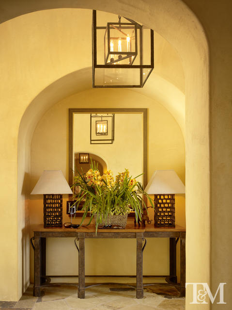 Transitional Entry with eggshell color painted walls